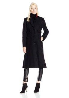 "JONES NEW YORK Women's Solid Wool 45"" Length Coat w/Contrast Red Trim"