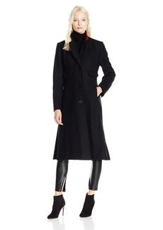 """JONES NEW YORK Women's Solid Wool 5"""" Length Coat w/Contrast Red Trim"""