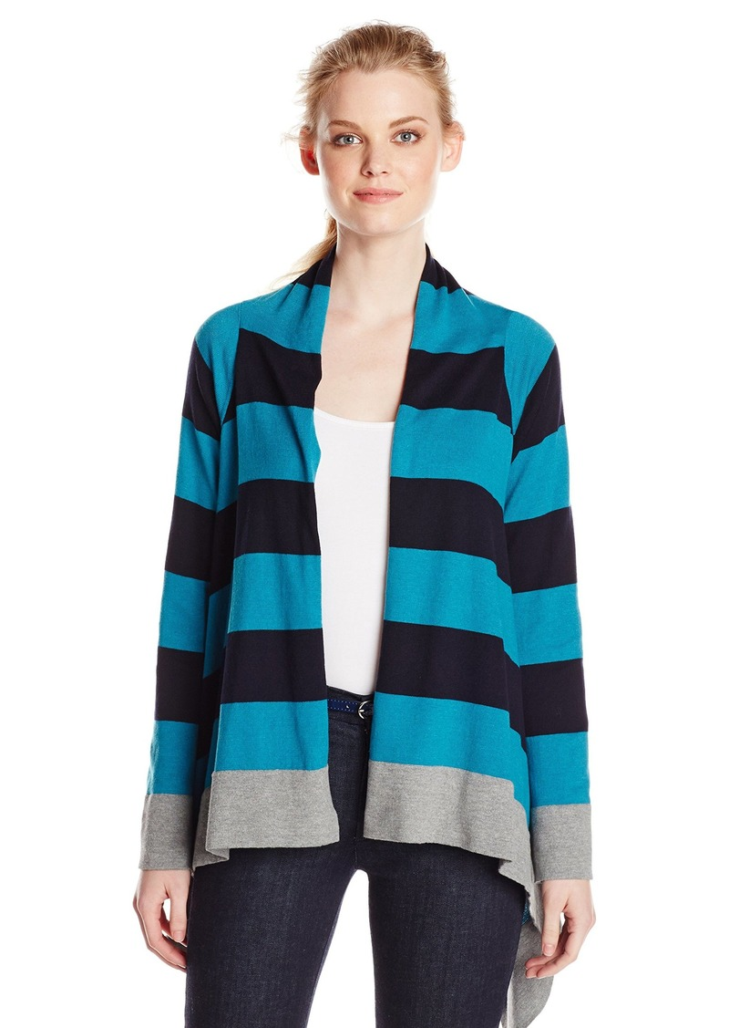 Jones New York Women's Stripe Drape Front Cardigan Teal Mist Multi
