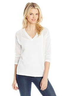 Jones New York Women's Stripe Mesh V-Neck Pull Over Sweater
