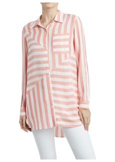 Jones New York Women's Stripe Play Button Down Shirt