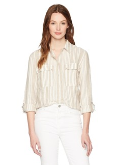 Jones New York Women's Stripe Roll Tab High Low Shirt  L