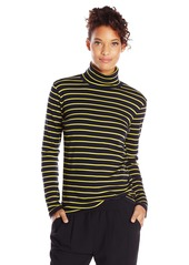 Jones New York Women's Stripe Turtleneck Navy Chartreuse