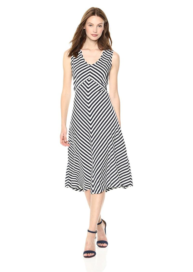 Jones New York Women's Stripe Twisted Back Knit Dress  XS