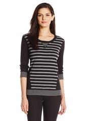 Jones New York Women's Striped 3/4 Sleeve Top Pullover