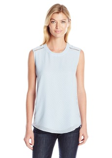Jones New York Women's Studded High Low Woven Tank