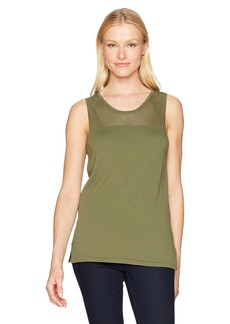 Jones New York Women's Tank W/Mesh Yoke & Side Slits  M