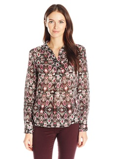 Jones New York Women's Tapestry Print Half Placket Popover Blouse  S