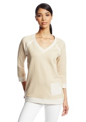 Jones New York Women's Three Quarter Raglan Pullover Knit Top