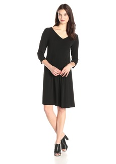Jones New York Women's Three-Quarter-Sleeve Pintucked Dress
