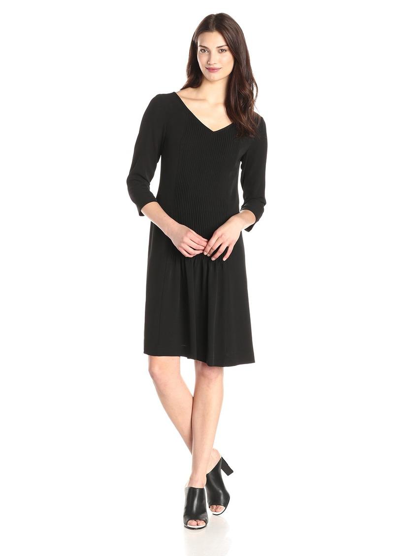 Jones New York Women's Three-Quarter-Sleeve Pintucked Dress