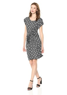 Jones New York Women's Tie Waist Polka Dot Dress  XS