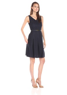Jones New York Women's V Neck Pleat Front Fit and Flare Dress