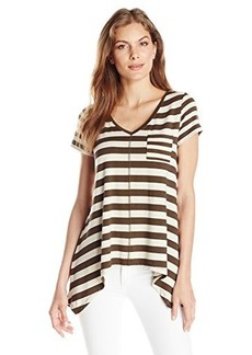 Jones New York Women's V Neck Pocket Top