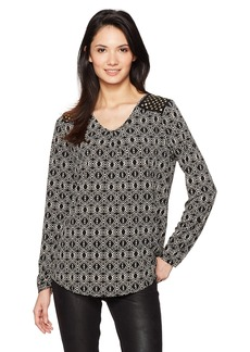Jones New York Women's 'v' Nk L/SLV Pleat Top W/Studs  XS