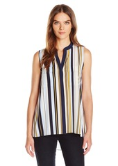 Jones New York Women's Vintage Stripe Print Envelope Back Sleeve-Less