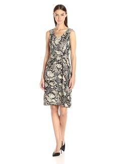 Jones New York Women's Viper Print Slvlss Tucked Dress