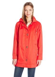 Jones New York Women's Water Repellent a-Line Rain Jacket with Turnkey Closures  S