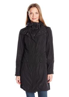Jones New York Women's Water Repellent Anorak Rain Jacket with Inner Quilted Vestee Bib and Hood  XS
