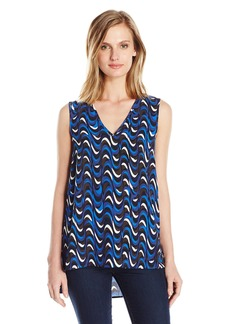 Jones New York Women's Wavy Geo Hi Lo V Neck Tank Top  S