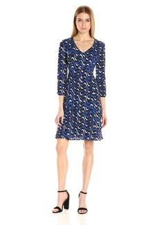 Jones New York Women's Wavy Geo Print Flare Dress