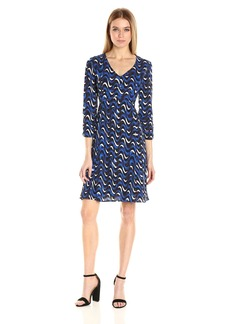 Jones New York Women's Wavy Geo Print Flare Dress