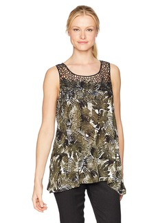 Jones New York Women's Wild Palms Prt Tank with Crochet Detail  L