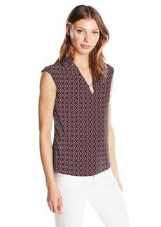 Jones New York Women's Xtend SLV Print VNK Bar Tr Solid Bk Top  XL
