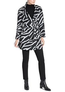 Jones New York Zebra-Print Belted Wrap Coat