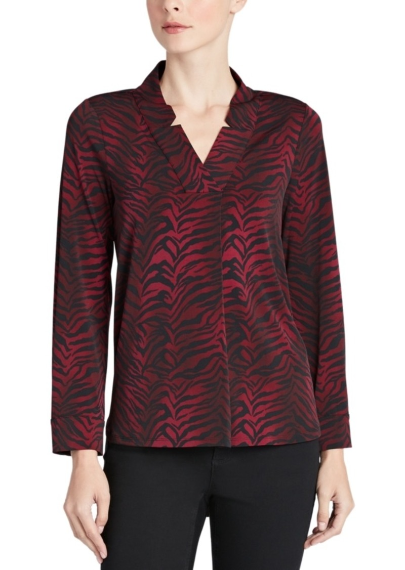 Jones New York Zebra-Print Notched-Collar Top