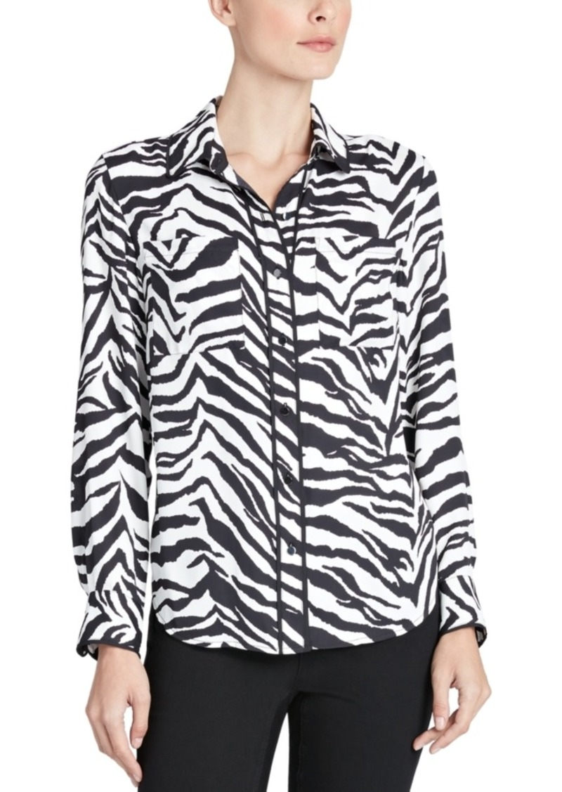 Jones New York Zebra-Print Piped-Trim Blouse