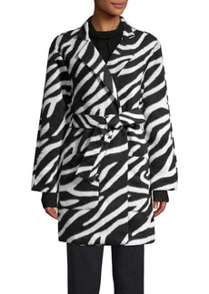 JONES NEW YORK Zebra Printed Belted Wrap Coat