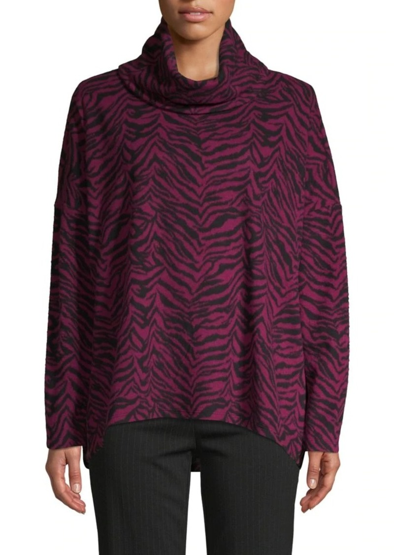JONES NEW YORK Zebra Printed Cowlneck Top