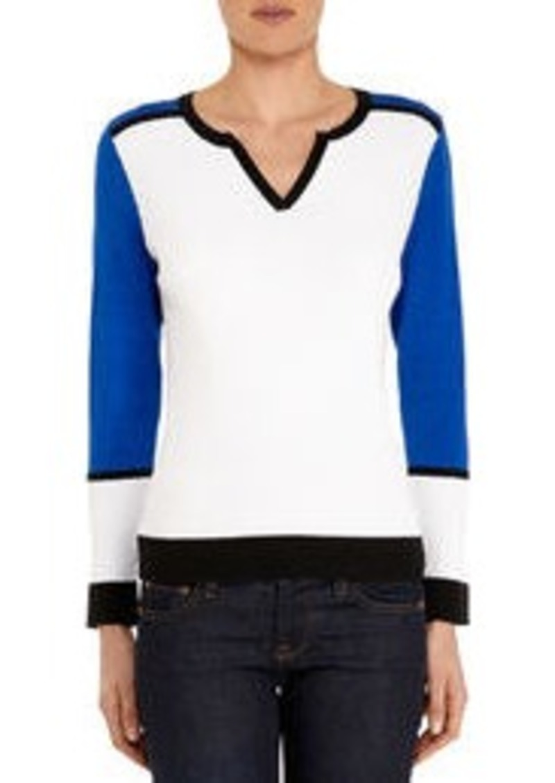Jones New York Long Sleeve Color Block Crew Neck Pullover