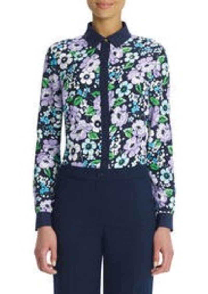 Jones New York Long-Sleeve Floral Blouse with Hidden Placket (Petite)