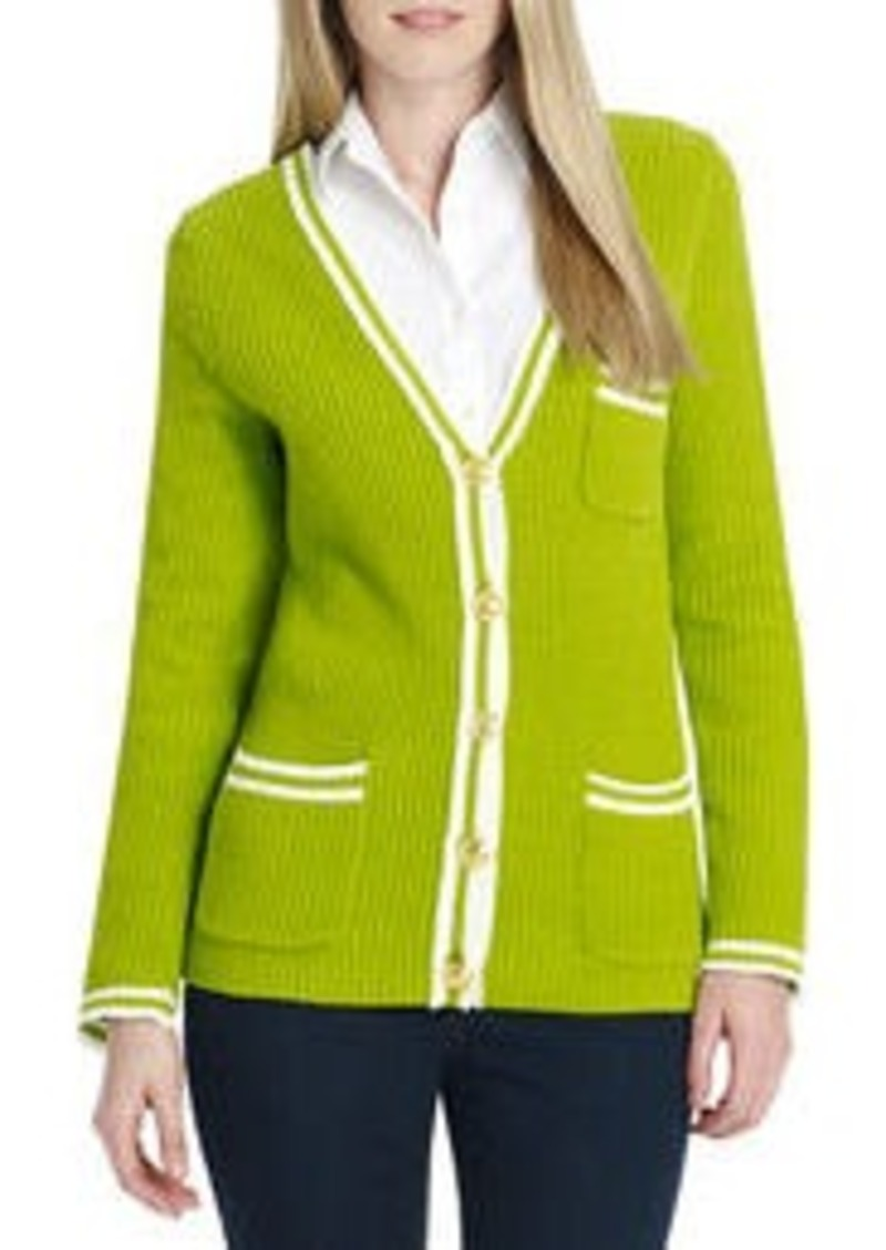 Jones New York Long Sleeve V-Neck Cardigan with Pockets (Petite)