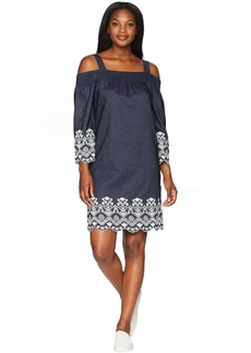 Jones New York Off Shoulder Chambray Dress w/ Scallop Embroidery