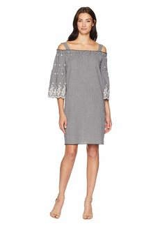 Jones New York Off Shoulder Dress w/ Scallop Hem Sleeve