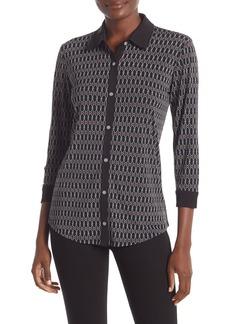 Jones New York Patterned 3/4 Sleeve Button Front Shirt