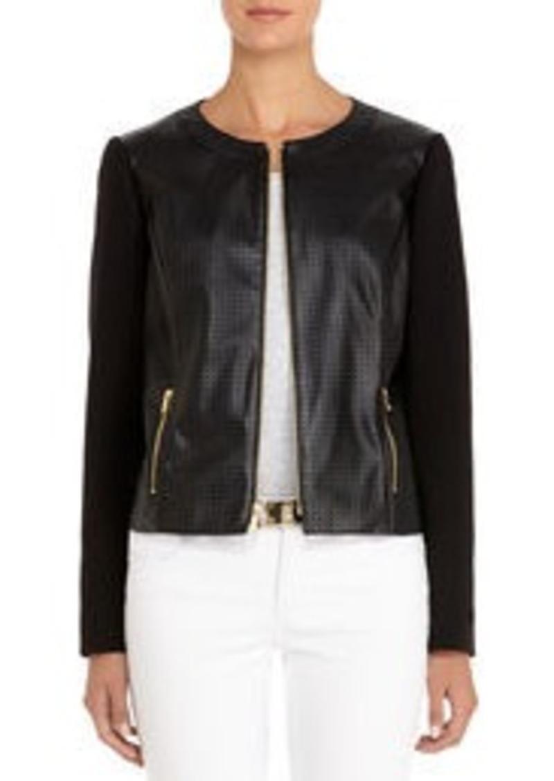Jones New York Perforated Black Faux Leather Jacket (Petite)