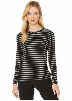 Jones New York Pleated Long Sleeve Striped Top