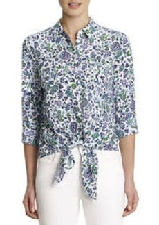 Jones New York Print Blouse with Tie Front (Petite)