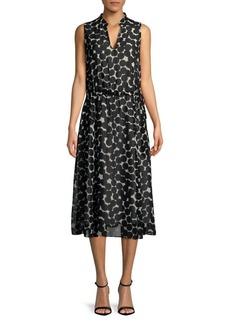 Jones New York Printed Fit-and-Flare Midi Dress