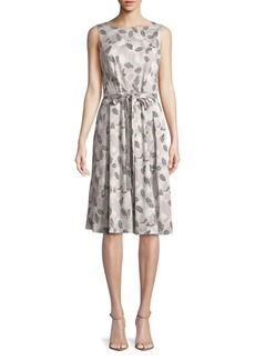 Jones New York Printed Leaf Fit-and-Flare Dress