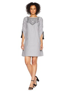 Jones New York Shirred Sleeve Dress w/ Tassel/Embroidery