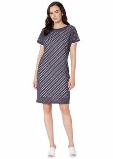 Jones New York Short Sleeve Bias Front Wedge Dress