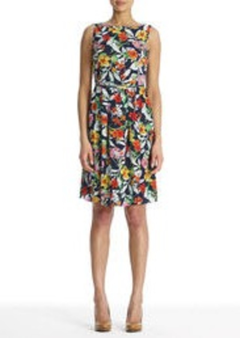 Jones New York Sleeveless Floral Dress with Belt (Petite)