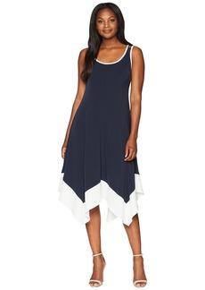 Jones New York Sleeveless Long Handkerchief Hem Tipped Trim Dress