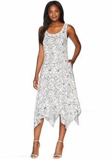 Jones New York Sleeveless Printed Linen Handkerchief Hem Dress