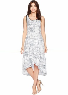 Jones New York Sleeveless Printed Linen High-Low Hem Dress